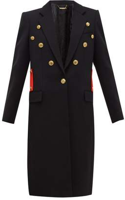 Givenchy Single Breasted Wool Twill Coat - Womens - Black Red
