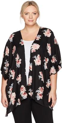 Angie Women's Size Printed Plus Kimono
