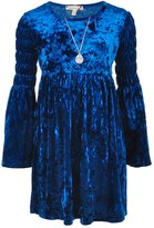 Speechless Big Girls' Crushed Velvet Dress with Necklace