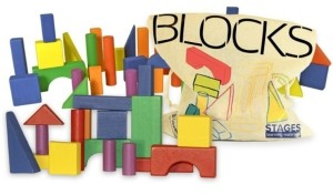 Stages Learning Materials Sensory Builder 50 piece Colored Wooden Blocks in Canvas Storage Bag