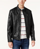 Kenneth Cole Men's Marbleized Faux-Leather Moto Jacket