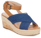 French Connection Elvia Leather & Denim Espadrille Wedge Sandals