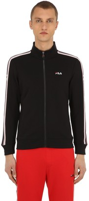 Logo Zip-up Cotton Blend Knit Sweatshirt