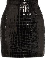 Saint Laurent Lacquered crocodile-effect mini skirt