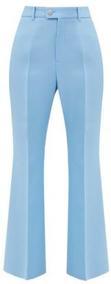 Gucci GG-button Silk-blend Flared Trousers - Blue