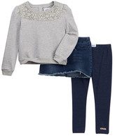 Hudson Crochet Sweatshirt, Denim Skirt, & Heathered Leggings Set (Toddler Girls)