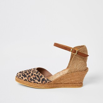 River Island Ravel brown leopard print wedge sandals