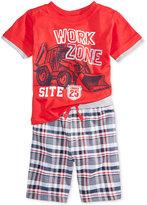 Nannette 2-Pc. Work Zone T-Shirt & Plaid Shorts Set, Toddler & Little Boys (2T-7)