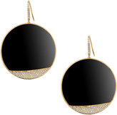 Lana 14k Pave Diamond & Onyx Jet Disc Earrings