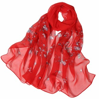 KUDICO Womens Thin Silk Scarf Sale Clearance Ladies Casual Solid Color Roses Printing Wrap Scarf Shawl ScarvesRed
