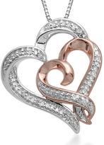 FINE JEWELRY Hallmark Diamonds 1/4 CT. T.W. Diamond Sterling Silver Heart Pendant with 14K Rose Gold Accent