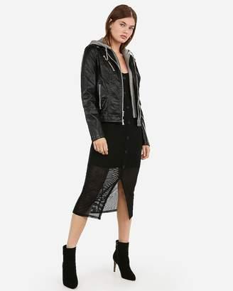 Express Vegan Leather Removable Hoodie Zip Moto Jacket