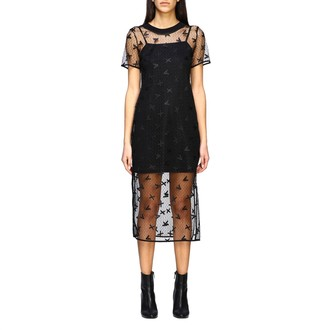 Armani Exchange Dress In Branded Tulle