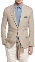 Brunello Cucinelli Linen-Wool-Silk Deconstructed Sport Jacket, Sand