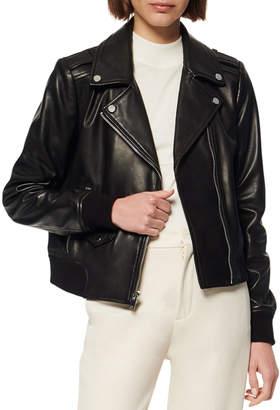 Andrew Marc Sandino Leather Bomber Moto Jacket