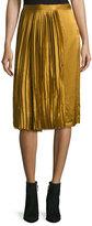Public School Gamil Pleated Sateen Silk Midi Skirt, Brown