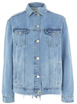 Topshop TALL Ripped Oversized Western Denim Jacket