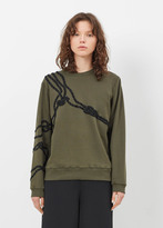 Dries Van Noten kaki hohe embroidered sweatshirt