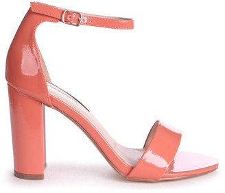 Linzi DAZE - Coral Patent Barely There Block High Heel