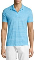 Orlebar Brown Felix Johnny-Collar Fine-Stripe Polo Shirt, Atoll