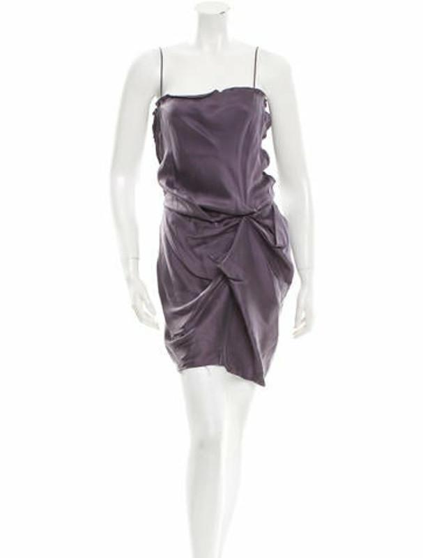 Lanvin Silk Sleeveless Dress Purple