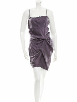 Lanvin Silk Sleeveless Dress Purple