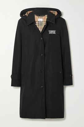 Burberry - Hooded Appliqued Shell Raincoat - Black