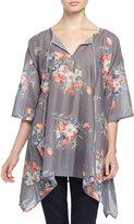 Johnny Was Mona Tie-Neck Floral-Print Tunic, Multicolor