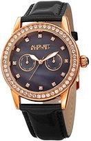 August Steiner Women's Quartz Stainless Steel and Leather Casual Watch, Color:Black (Model: AS8234BK)