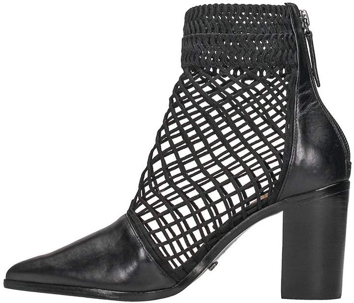 Schutz Black Calf Leather Ankle Boots