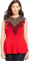 City Chic Plus Size Lace-Yoke Peplum Blouse