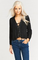 MUMU Lacey Lace Up Sweater ~ Black Knit