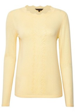 Dorothy Perkins Womens Yellow Soft Pointelle Jumper, Yellow