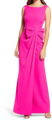 Eliza J Bow Detail Crepe Gown