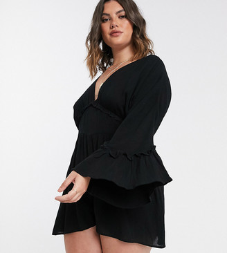 Asos DESIGN Curve swing playsuit with frill sleeve in crinkle in black