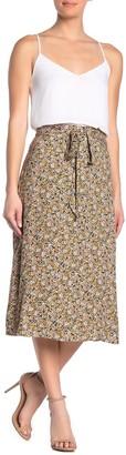 Love, Fire Printed Waist Tie Midi Skirt