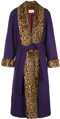 Gucci leopard print trimmed belted coat