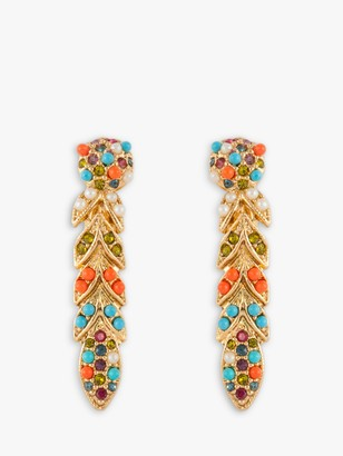 Susan Caplan Vintage D'Orlan 22ct Gold Plated Swarovski Crystal Lucite and Faux Pearl Clip-On Drop Earrings, Gold/Multi
