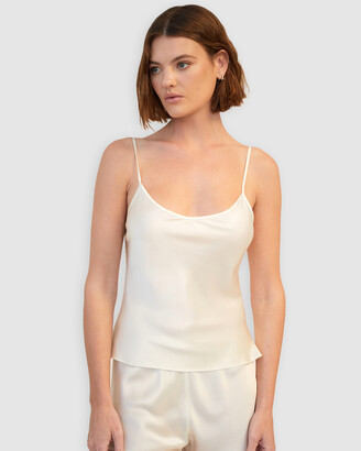 Ginia Women's White Cami Tops - Plain Silk Cami - Size One Size, 14 at The Iconic