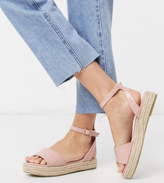 Raid Wide Fit Denny espadrille sandals in blush croc