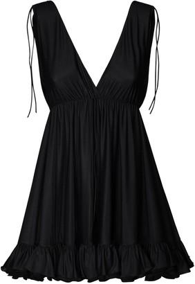 Balenciaga Ruffled V Neck Light Jersey Mini Dress