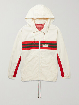 Gucci Logo-Appliqued Striped Hooded Shell Track Jacket