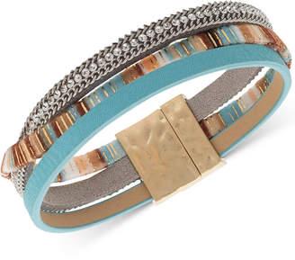 lonna & lilly Crystal & Faux-Leather Wrap Bracelet