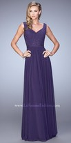 La Femme Jeweled Studded V Shaped Neckline Evening Dress