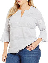 Westbound Plus Y-Neck Bell Sleeve Tunic