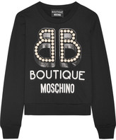 Moschino Embellished Printed Cotton-jersey Sweatshirt - Black