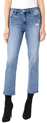 Liverpool Crop Straight Jeans with Destruct in Gordon (Gordon) Women's Jeans