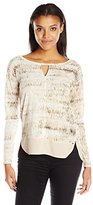 Calvin Klein Jeans Women's Printed Mixed Media Key Hole Long Sleeve Shirt