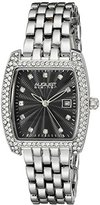 August Steiner Women's AS8180SSB Silver Crystal Accented Quartz Watch with Black Diamond Dial and Rose Gold Bracelet
