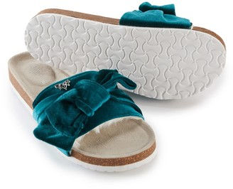 Pretty You London Velour Bow Footbed Sandal In Emerald